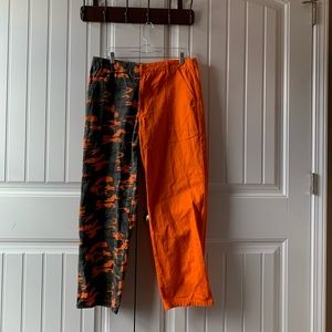 Orange and camo cargo pants